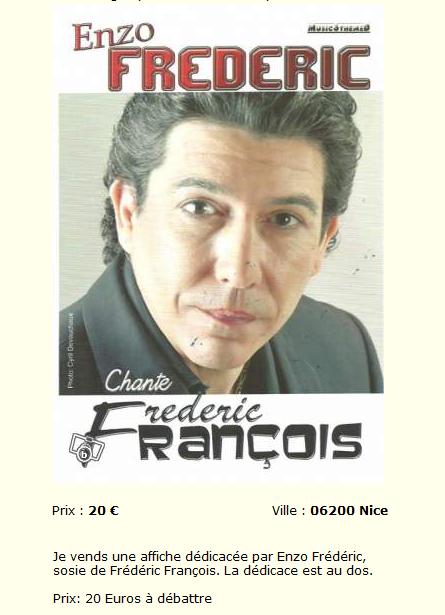 Vend affiche dédicacée par le sosie de Frédéric François