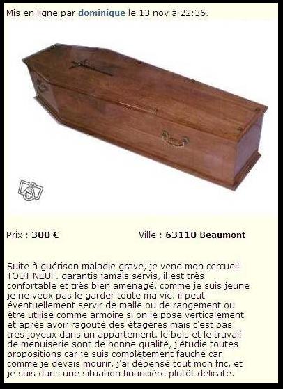 Magnifique cercueil tout neuf en bois.