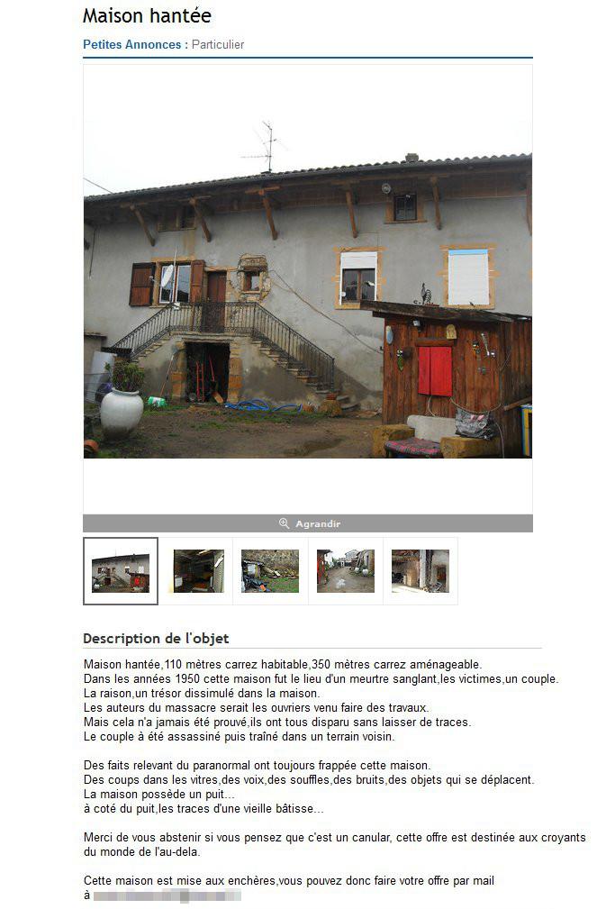 Maison hantée à vendre