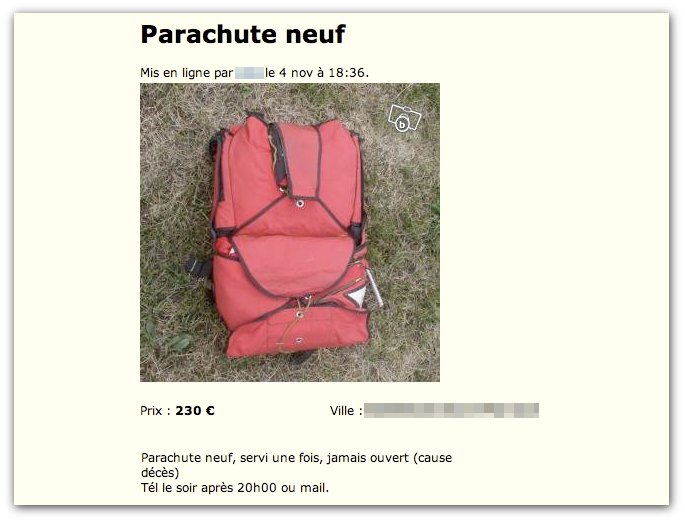 Parachute neuf jamais ouvert