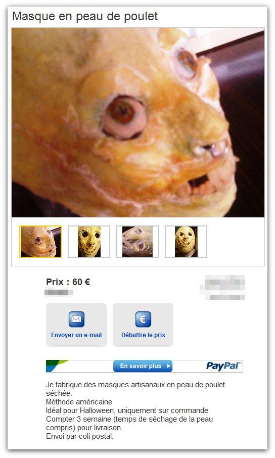 Masque en peau de poulet séchée