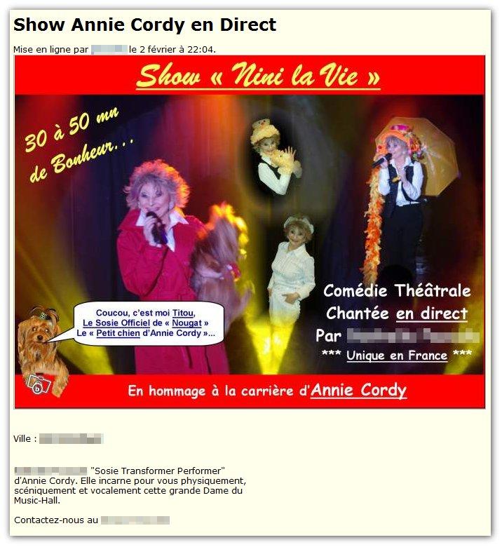 Show Annie Cordy (+ sosie de son chien)