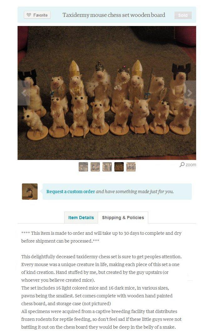 Idée Cadeau: Le jeu d'échecs avec des souris empaillées
