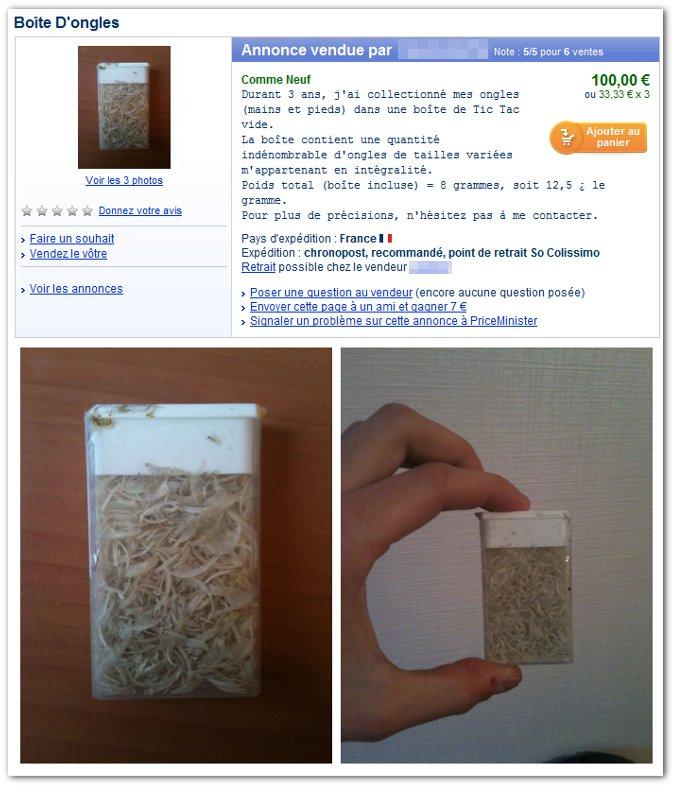 Boîte d'ongles (12,50 € le gramme)