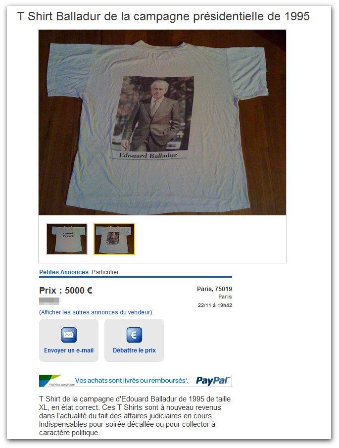 T-shirt Balladur 1995 à 5000€