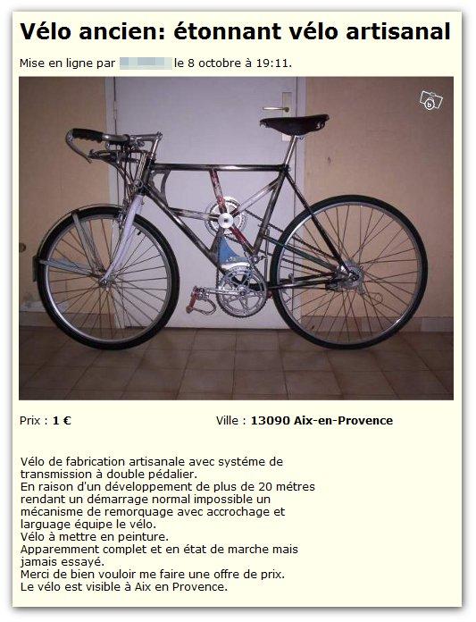 Vélo à double pédalier