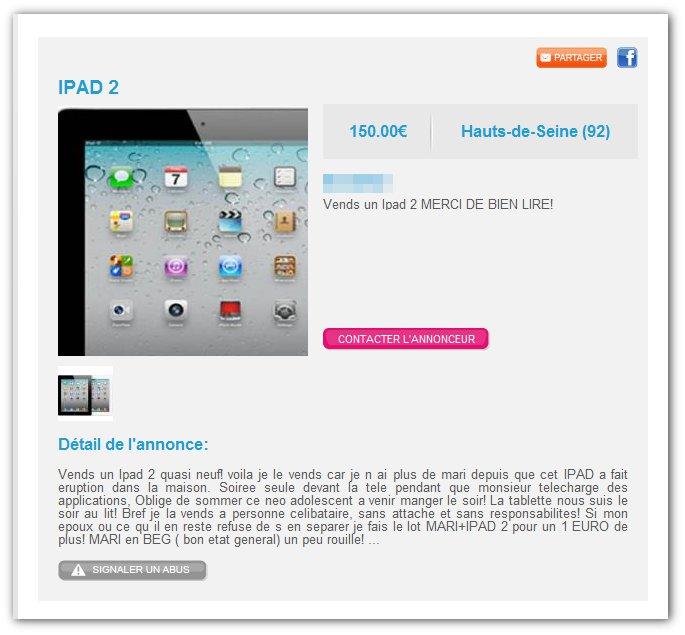 iPad 2 (avec mari pour 1€ de plus)