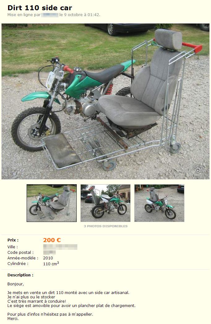 Moto avec side-car artisanal