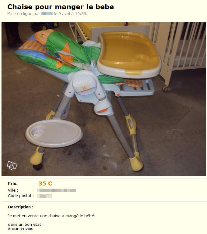 Chaise pour «manger le bébé»